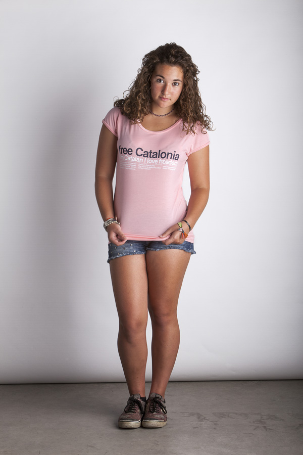 Salmon FreeCatalonia Helvetica T-Shirt - Woman T-Shirt - Color: Pink - Size: L