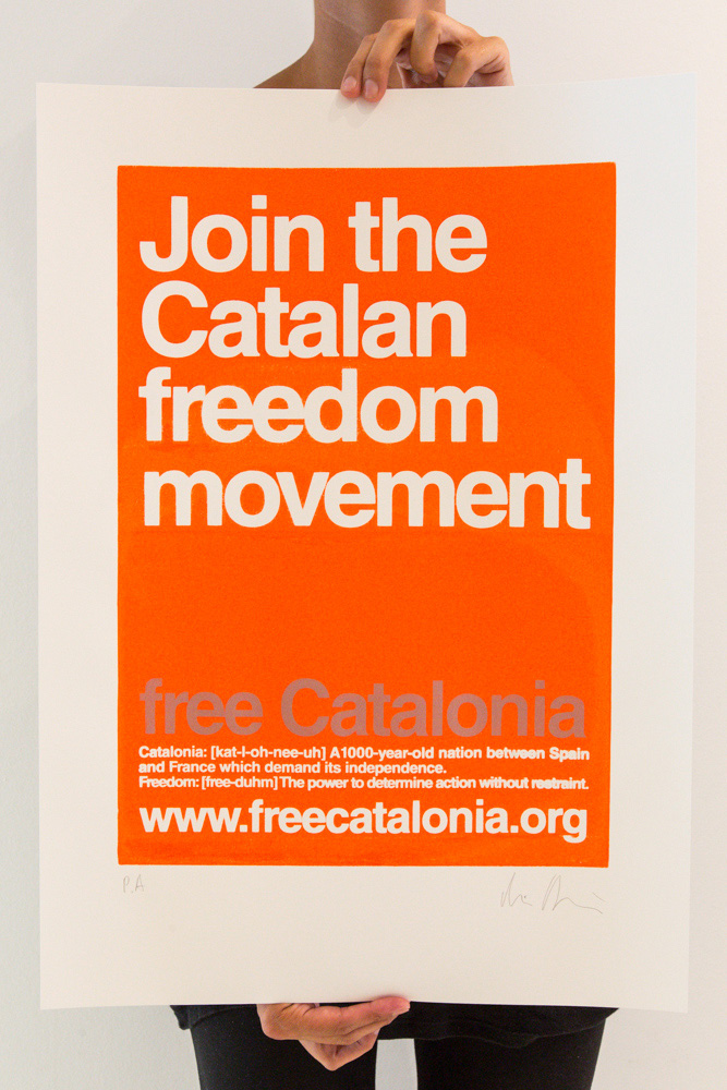 "Cartell ""Join the Catalan Freedom Movement"" - Color taronja"